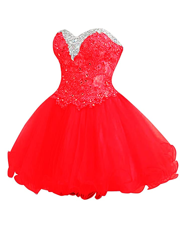 CutieTell Womens A-line Sweetheart Tulle Short Lace Homecoming Dresses at Amazon Womens Clothing store:
