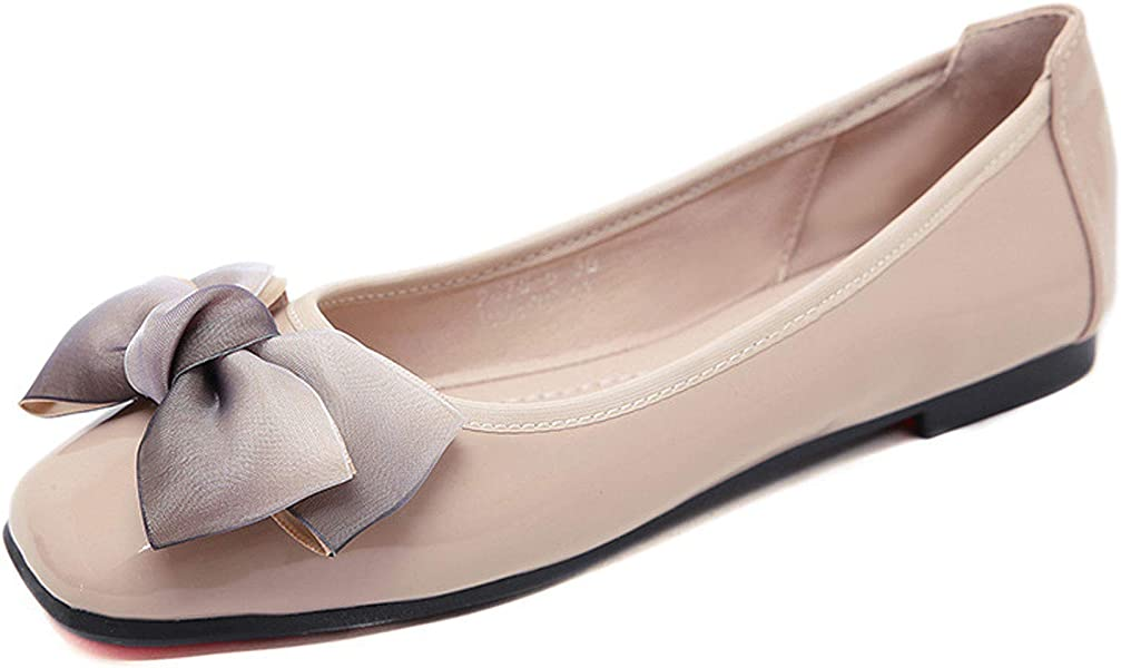 Amazon.com | Orangetime Womens Square Toe Ballet Flats Cute Bow Slippers Dress Flat Shoes Comfort Slip On Moccasins Apricot 35 | Flats