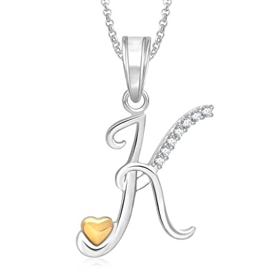 Meenaz gold silver plated k letter pendant locket alphabet heart meenaz gold silver plated k letter pendant locket alphabet heart with chain for men mozeypictures Gallery