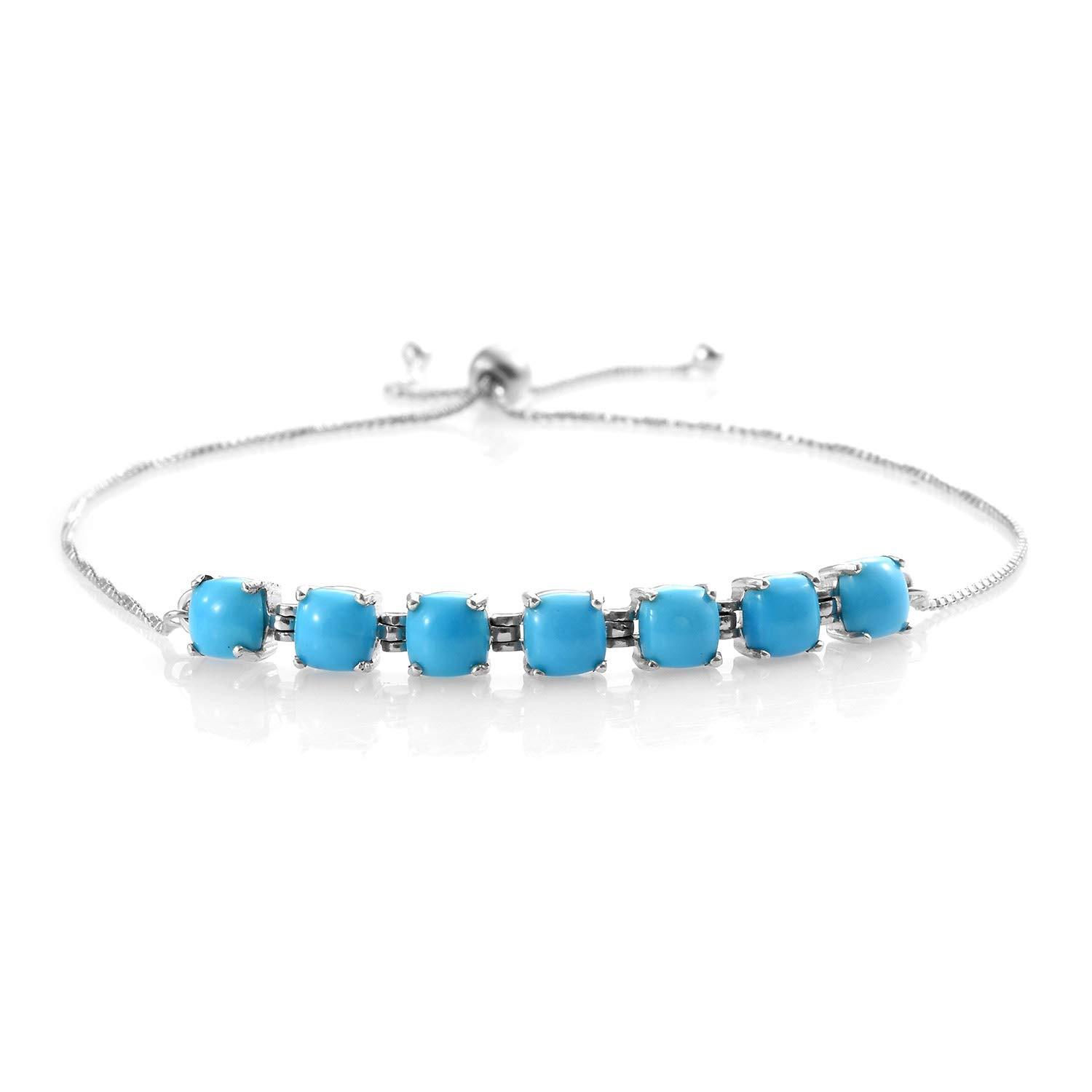 925 Sterling Silver Platinum Plated Cushion Sleeping Beauty Turquoise Bolo Tennis Bracelet for Women