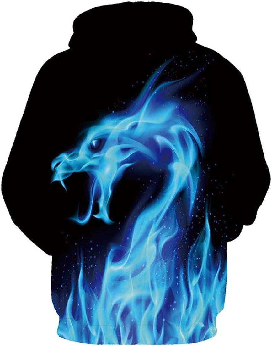 9Yourtime Unisex Cool Printed Print Fire Dragon Pullover Men Women Sportswear Hoodie