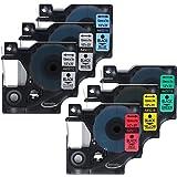 Anycolor Cassette de ruban à étiqueter Compatible D1 Combo Set Label rubans pour Dymo 45010 45013 45016 45017 45018 45019 (12mm x 7m, 6-Pack)