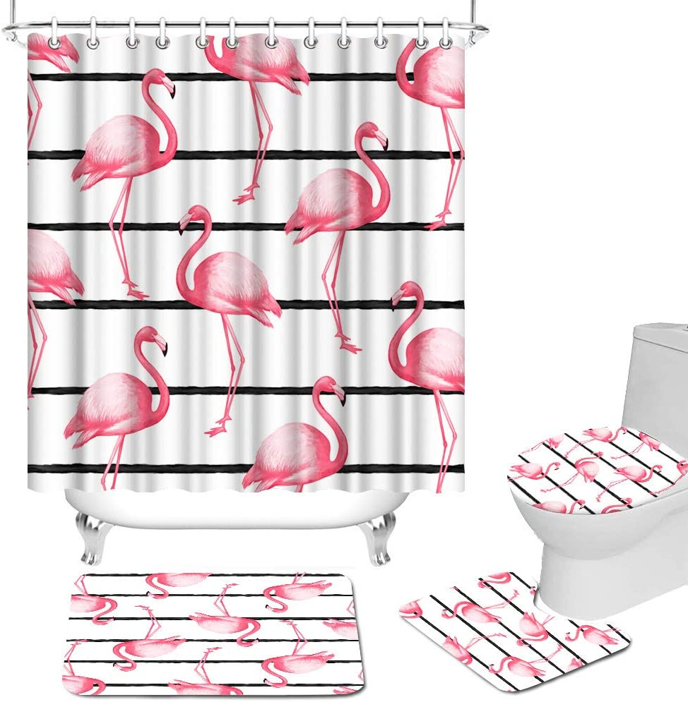 4 Pcs Flamingo Shower Curtains and Rug Set for Bathroom Pink Animal Strips Bath Curtain Set with Non-Slip Rug Toilet Lid Cover Bath Mat and 12 Hooks Modern Bathroom Decor Accessories