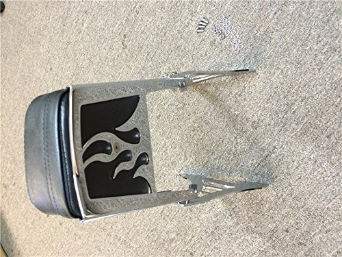 HTT Group Motorcycle Chrome Flame Backrest Sissy Bar With Leather Pad For 1995-2003 Harley Davidson Sportster 883 XL883 1200 XL1200 TTMT