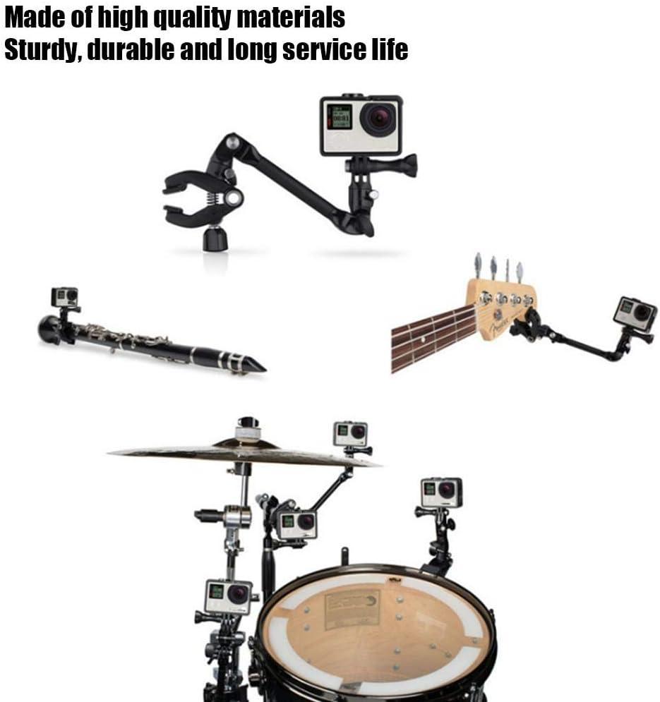 360/° Rotating Bracket Fixed Clip for GoPro Drum Ring Brass Instrument Keyboard Guitar Shaft Serounder Jam Adjustable Clamp Mount Microphone Holder