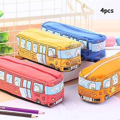 King&Pig 4pcs Cartoon Animal Bus Pencil Case Kawaii large Capacity PU Leather Pen Bag Material Stationery Pouch School Supplies Kids Gift(bus)