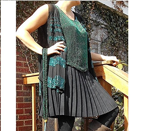 GENUINE 1920's Beaded Peacock Blue -Green Evening Top & Flowing Vest Adjustable Small/Large, Black Thin Silk Crepe Heavily Beaded Repair Available by Me. (Evening Dress Blue Peacock)