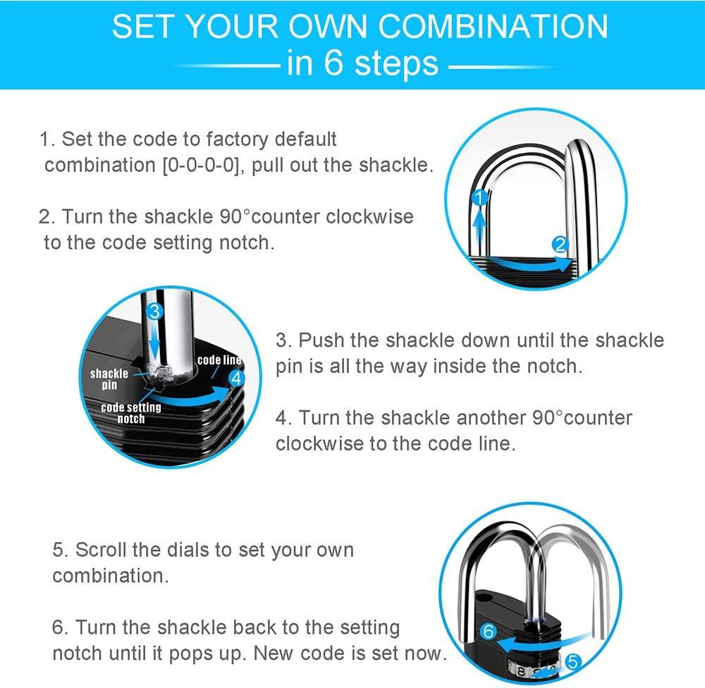Sliver ZHEGE Locker Lock 4 Digit Combination Padlock School Lock and Employee Lock Re-settable Combo Lock Combination Lock Gym Lock