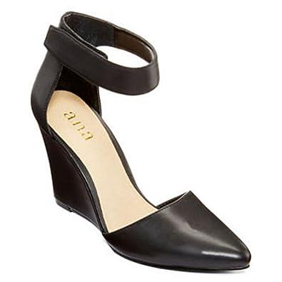 a.n.a Scarletta Womens Ankle-Strap Wedge Pumps (5, Black)