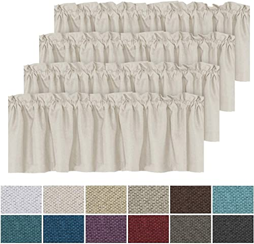 H.VERSAILTEX Thermal Insulated Rich Linen Curtain Valance for Living Room Kitchen Bedroom, Primitive Linen Valances Rod Pocket Matches with Panels – 4 Panels, Each 52 inch x 18 inch, Ivory