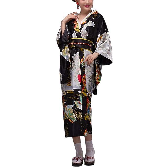 Fancy Pumpkin [Geisha] Albornoz Kimono Yukata de Estilo japonés para Cosplay, Negro: Amazon.es: Ropa y accesorios