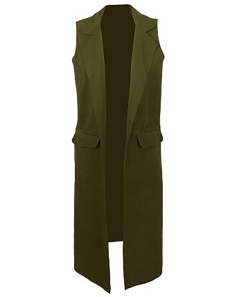 539e83f6998 YSL Fashion Sleeveless Long Cardigan Jacket Zara Crepe Blazer (Khaki)   Amazon.co.uk  Clothing