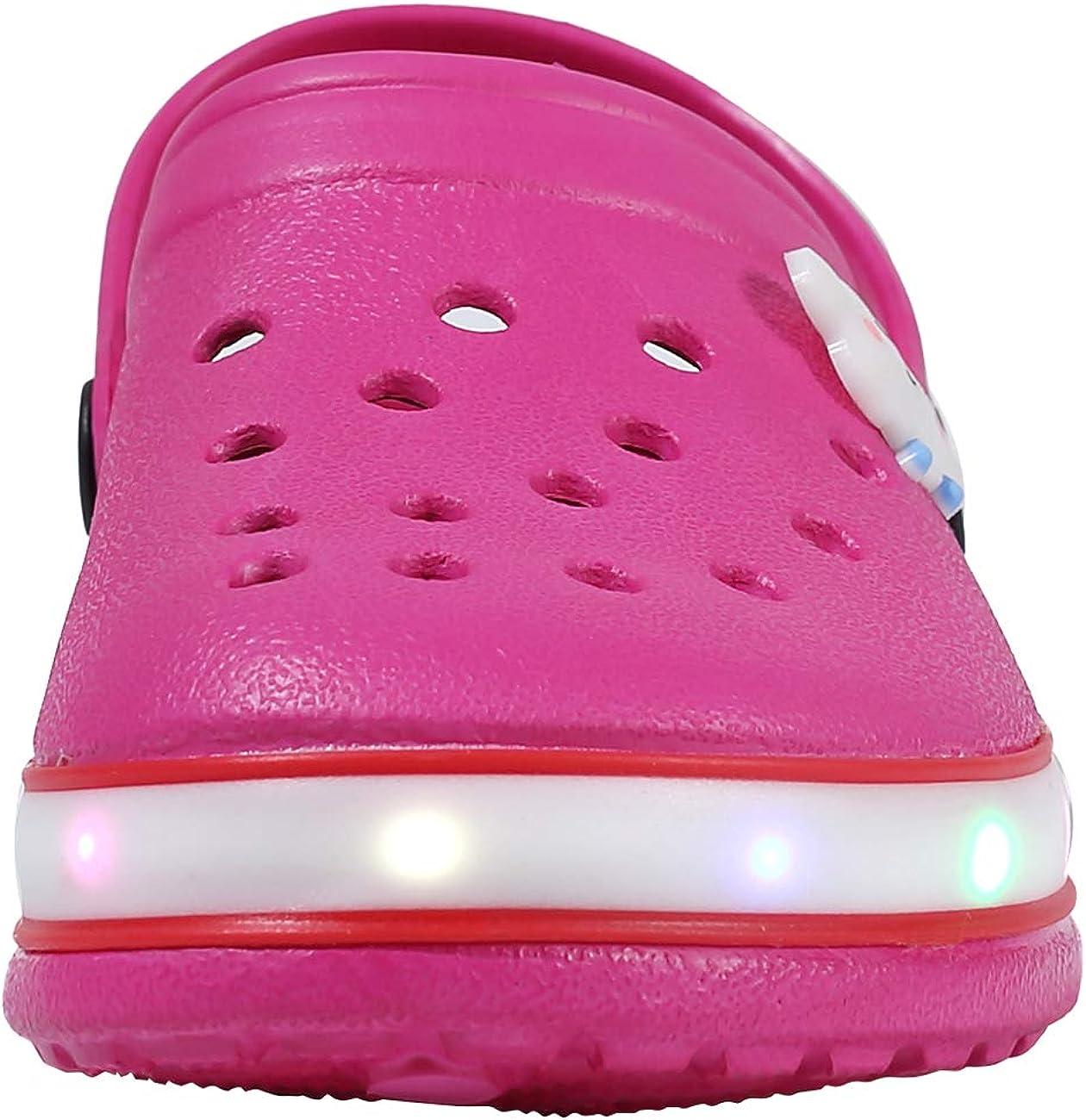 XPKWS Kids Clogs LED Garden Shoes Boys Girls Mules Light up Sandals Slip on Lightweight Non-Slip