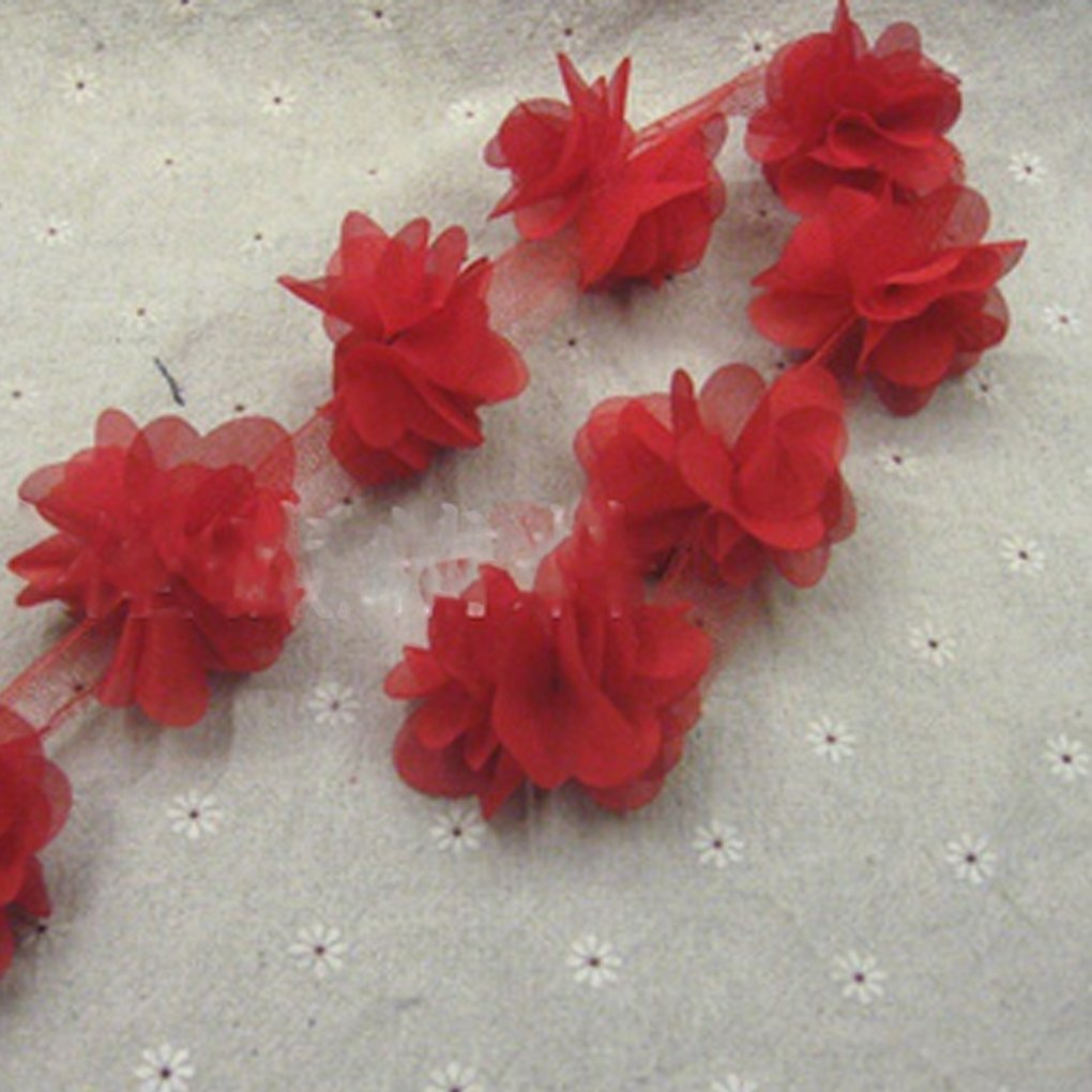 Meisijia Chiffon Fiori a grappolo Tessuto Vestito di Pizzo 12pcs Flowers 3D Taglio per Cucire Nozze Bambola Le Fasce Crafts