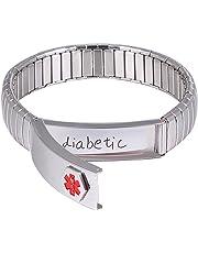 Bracelet d'alerte médical pour bracelet en acier inoxydable élastique pour femme, bracelet d'identification pour femme