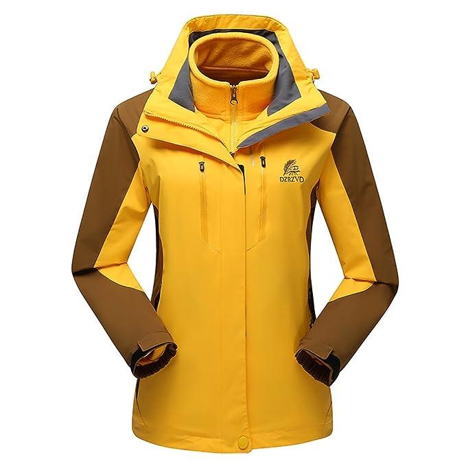 emansmoer Femme 3 en 1 Imperméable Outdoor Sport Veste de Camping Randonnée  Escalade Coupe-Vent 22d76e8f2137