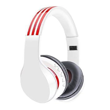 LQQAZY Auriculares Inalámbricos Soporte para Dispositivos Bluetooth Micrófono Incorporado Orejeras De Cuero Suave MP3 / Teléfono Móvil / TV,White: ...