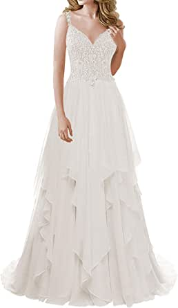 Wedding Dress Lace Bridal Dresses Beach Ruffles A line Wedding Gown with Straps Bridal Gown