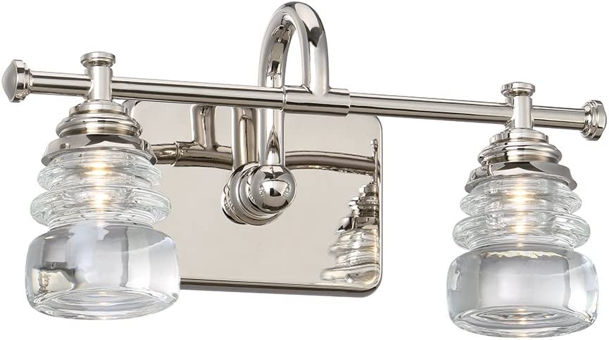 WAC Lighting WS-42514-PN 2 Polished Nickel Rondelle LED Bath Wall Light, Opal