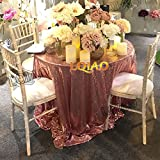 Pack of 10PCS,High Quality Sparkly 120-Inch Round Sequin Tablecloth Rose Gold Sequin Table Overlay,Cake Sequin Tablecloths,Sequin Linens for Wedding