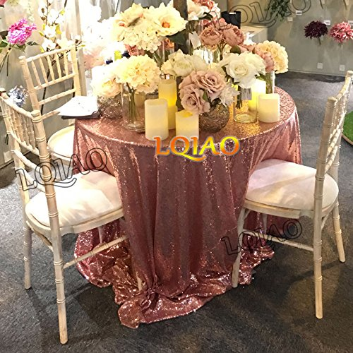 Pack of 10PCS,High Quality Sparkly 120-Inch Round Sequin Tablecloth Rose Gold Sequin Table Overlay,Cake Sequin Tablecloths,Sequin Linens for Wedding by LQIAO