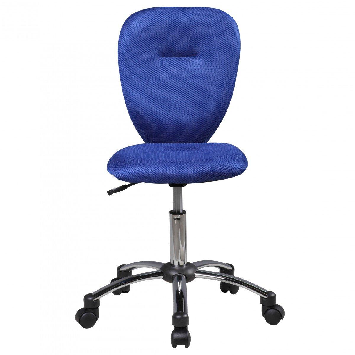 Amstylle Kinderschreibtischstuhl in blau mit Weichbodenrollen und Lehne - Sitzhöhe 46 bis 58 cm
