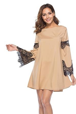 Vestiti Donna Eleganti Corti Vintage Autunno Abiti da Cerimonia Linea Ad A Vestitini  da Giorno Pizzo 68c63f5ddd5