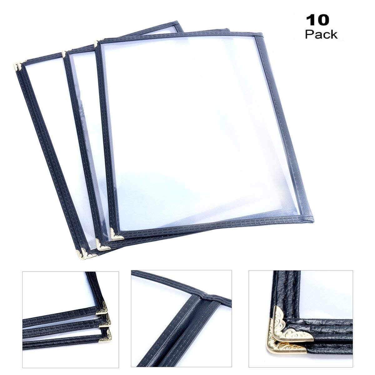 (10 Pack) Yaekoo Double Fold Menu Cover for 8.5 x 11 Inch 2 page , Restaurant Recipe Menu Covers (2 Page 4 view)