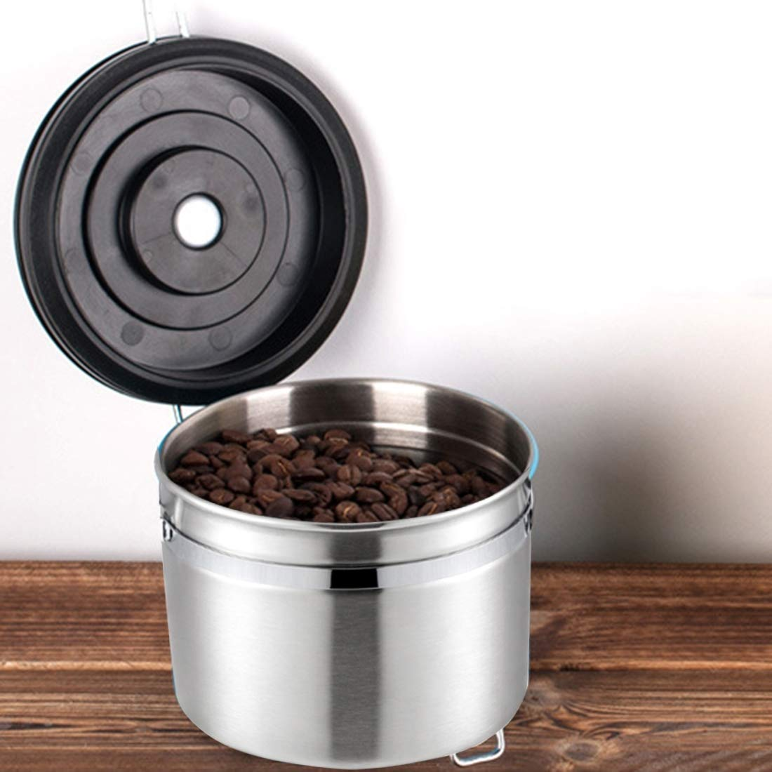 WXQ-XQ 1200ml Stainless Steel Sealed Food Coffee Grounds Bean Storage Container with Built-in CO2 Gas Vent Valve Calendar (Size : Hc4922s) by WXQ-XQ