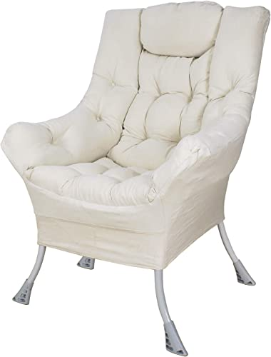 Explore Land Living Room Single Lazy Chair Modern Upholstered Accent Chair White Review