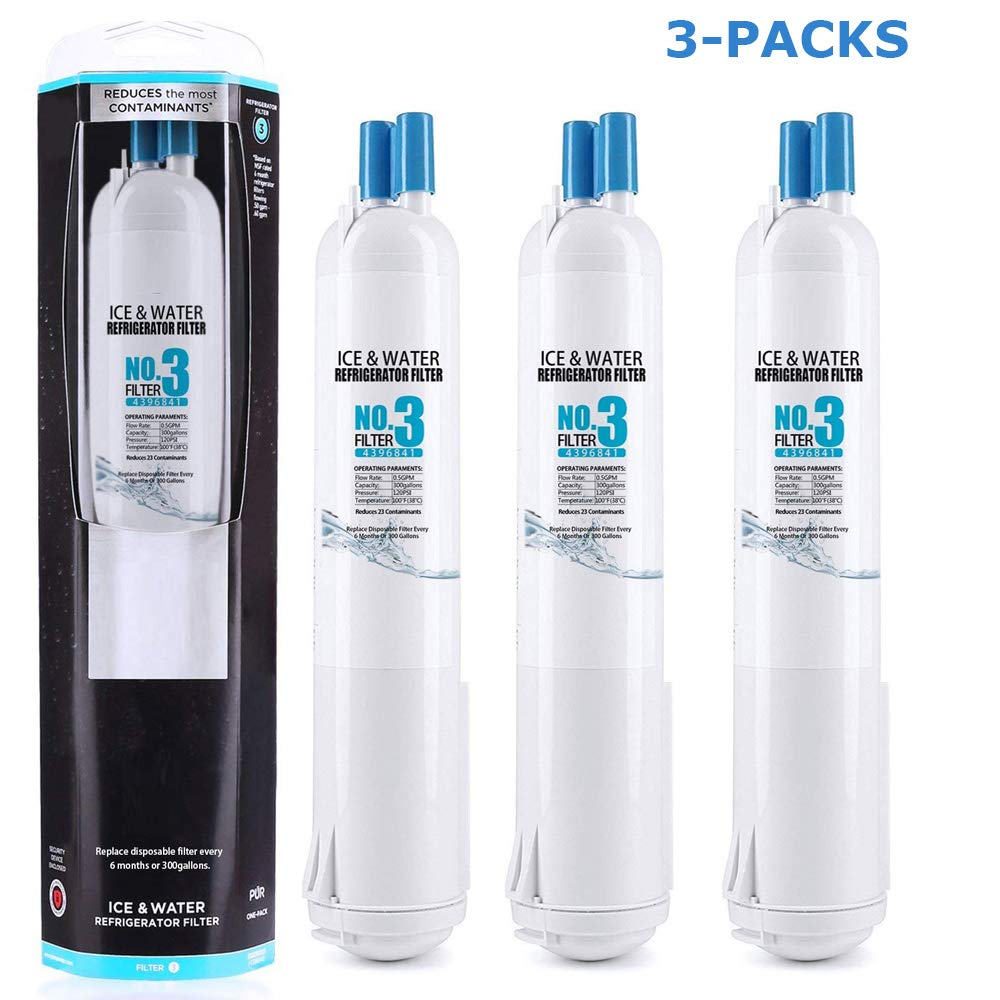 3-PACKS ELASUN 4396/841 4396/710 Water Filter Refrigerator Water Filter 3 EDR3/RXD1 Kenmore 09083 Filter 9030(White)
