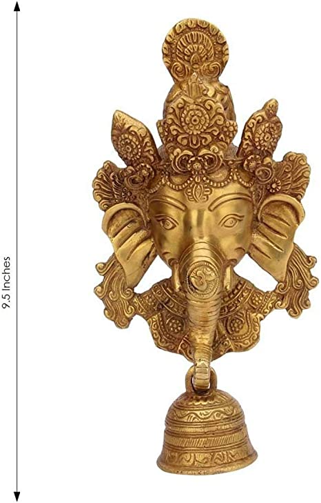 Amazon Com Indian Handicrafts Export Brass Murti Of Lord Ganesha Wall Hanging Ganesh Face Trunk Bell Home Decor Antique Look Dimension Lxbxh 13cm X 21cm X 25 Cm