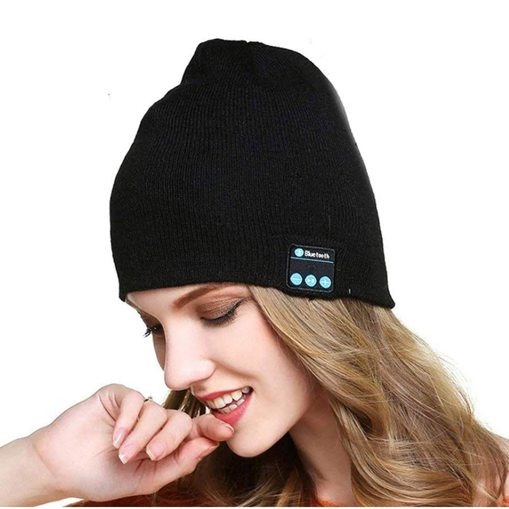 Wireless Bluetooth Beanie Hat, Unisex Bluetooth Beanie Smart Winter Knit Hat V4.2 Wireless Musical Headphones Earphones Cap Unique Christmas Tech Gifts for Teen Young Boys Girls Men Women