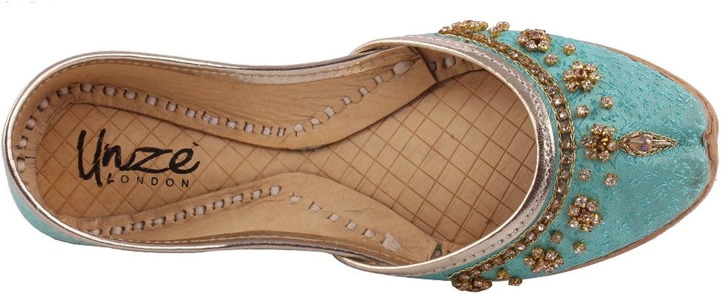 LS-605 K Unze New Girls Traditional /'Garland/' Handmade Leather Flat Khussa Pump Slippers Kids Shoe