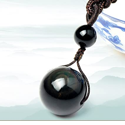 Natural Stone Pendants Amazon iumer natural stone pendant necklace for women and men iumer natural stone pendant necklace for women and men obsidian black eye rainbow beads lucky ball audiocablefo