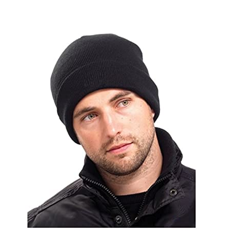 Amazon.com  Mens Thinsulate Thermal Winter Hat Black  Sports   Outdoors b045cb739fc5
