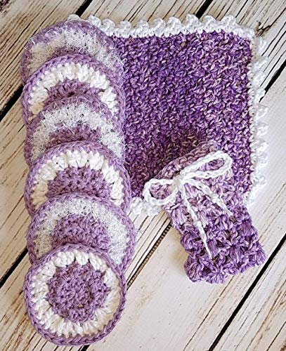 (Variegated Purple and White Invigorating yet gentle face and body rounds and washcloth. Hand crocheted spa or bath set with facial scrubbies.)