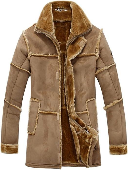 69ac158c121d5 Herren Lange Winter Pelz-Mantel Warme Luxuriös Wildleder Leder Mäntel Jacke  Lambswool Futter Parka