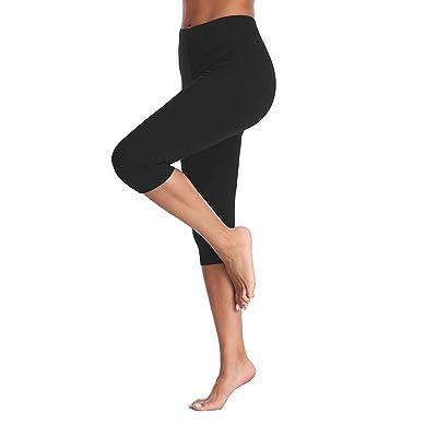 Kotii Women's Lightweight Soft Capri Leggings Crop Leggings 3/4 Stretch Yoga Pants at Women's Clothing store