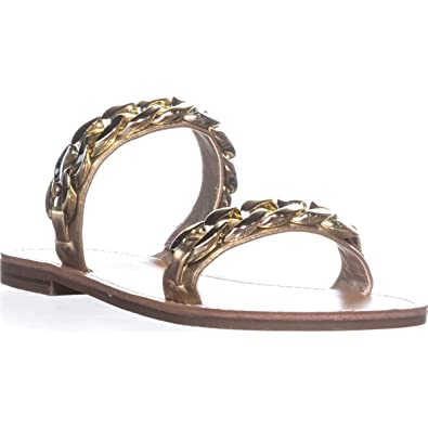 489fb96b3deab G by GUESS Womens Tunez Faux Leather Slides Flat Sandals Gold 6 Medium (B