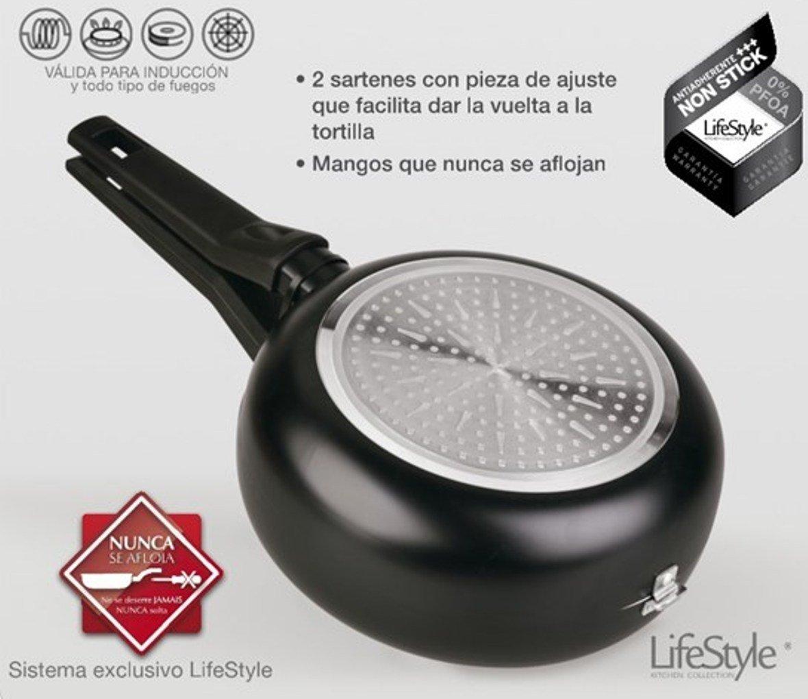 Life Style - Doble Sartén Voltea Tortillas - Vitro-Inducción - Ø 24 cm: Amazon.es: Hogar