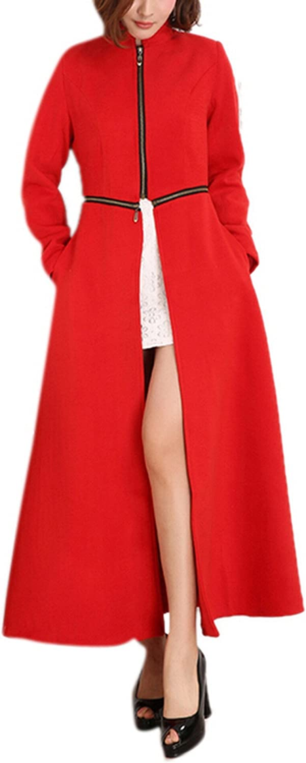 GESELLIE Womens Maxi Length Stand Collar Party Business Wool-Blend Trench Coat