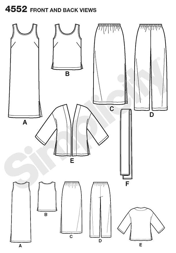 Simplicity 4552 BB - Patrones de costura para ropa de mujer (tallas ...