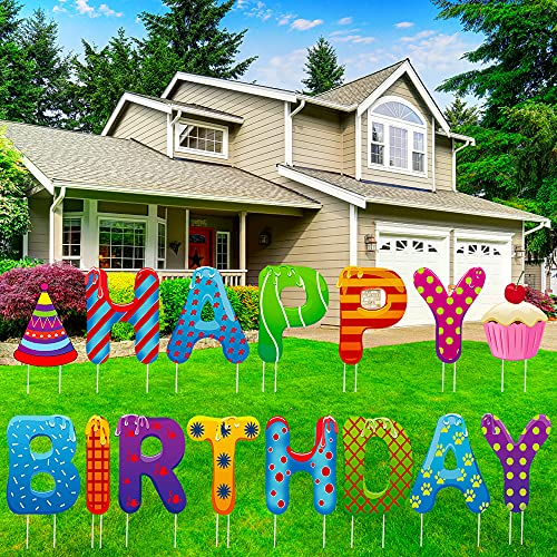 LAUJOY Happy Birthday Yard Signs with Stakes, 15 Piece - 13 inch Birthday Yard Signs, Happy Birthday Sign with Party Hat and Cupcake, Birthday Yard Sign Decorations for Birthday Party Outdoor Lawn