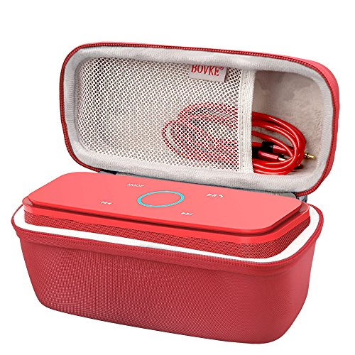 BOVKE for DOSS SoundBox Touch Wireless Bluetooth V4.0 Portable Speaker Protective Hard EVA Travel Shockproof Carrying Case Cover Storage Pouch Bag, Red