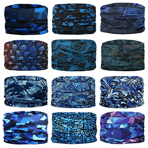 - Headwear,Head Wrap, Neck Gaiter, Headband, Fishing Mask, Magic Scarf, Tube Mask, Face Bandana Mask, Neck Balaclava and Sport Scarf 12 in 1 Headband Sweatband for Fishing, Hiking, Running, Motorcycling