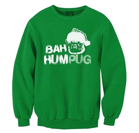 Amazoncom Freshrags Bah Humpug Ugly Christmas Sweater Pug Lover