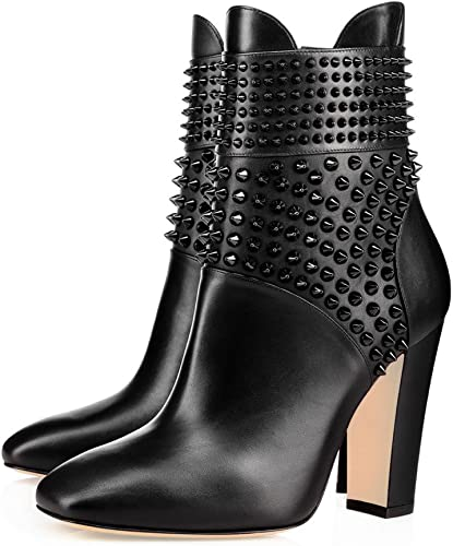 New Women Ankle Chelsea Boots Rivets Block Heels Pointed Toe Zipper Shoes Size