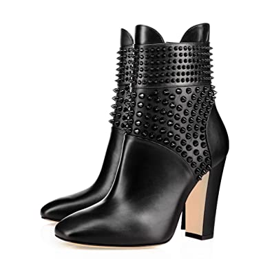 4b884a2b9593 XYD Chic Studded Chunky Heel Boots Closed Square Toe Ankle High Side Zipper  Booties Shoes Size