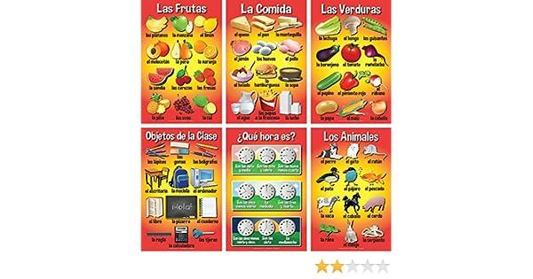 Amazon.com: Set of Basic Spanish Posters #3 (Set of 6): Industrial & Scientific